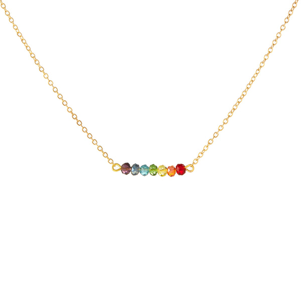 PRIDE & Chakra Mini Crystal Gold Bar Necklace