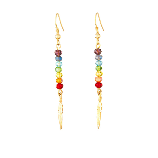 PRIDE Chakra Crystal Bar & Gold Feather Earrings