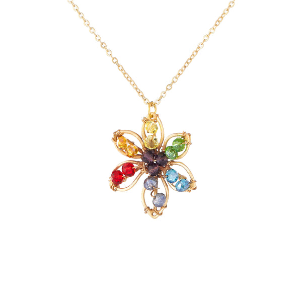 PRIDE & Chakra Crystal Gold Flower Outline Necklace