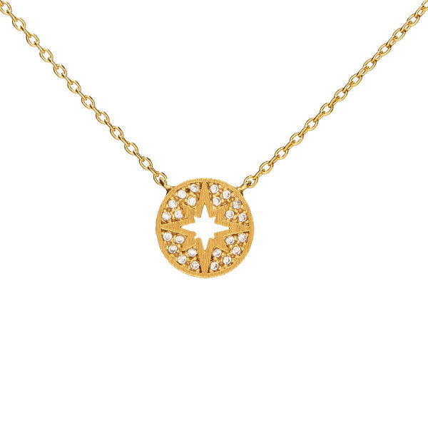 Dainty Gold Disk with Pave Inlay Star Necklace