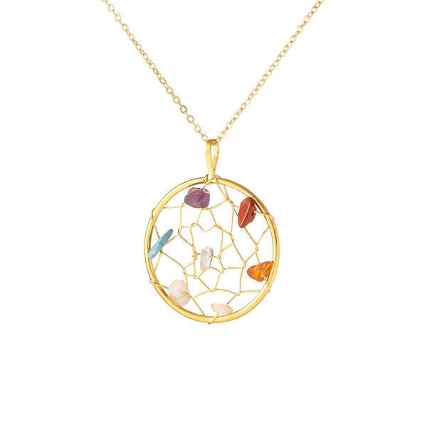 PRIDE & Chakra Gold Dreamcatcher Necklace