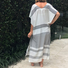Load image into Gallery viewer, Black and white stripe maxi dress