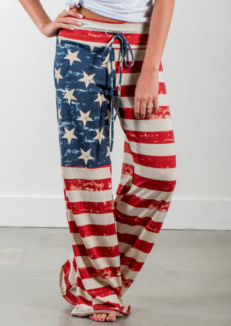 American Flag Drawstring Wide Leg Pants