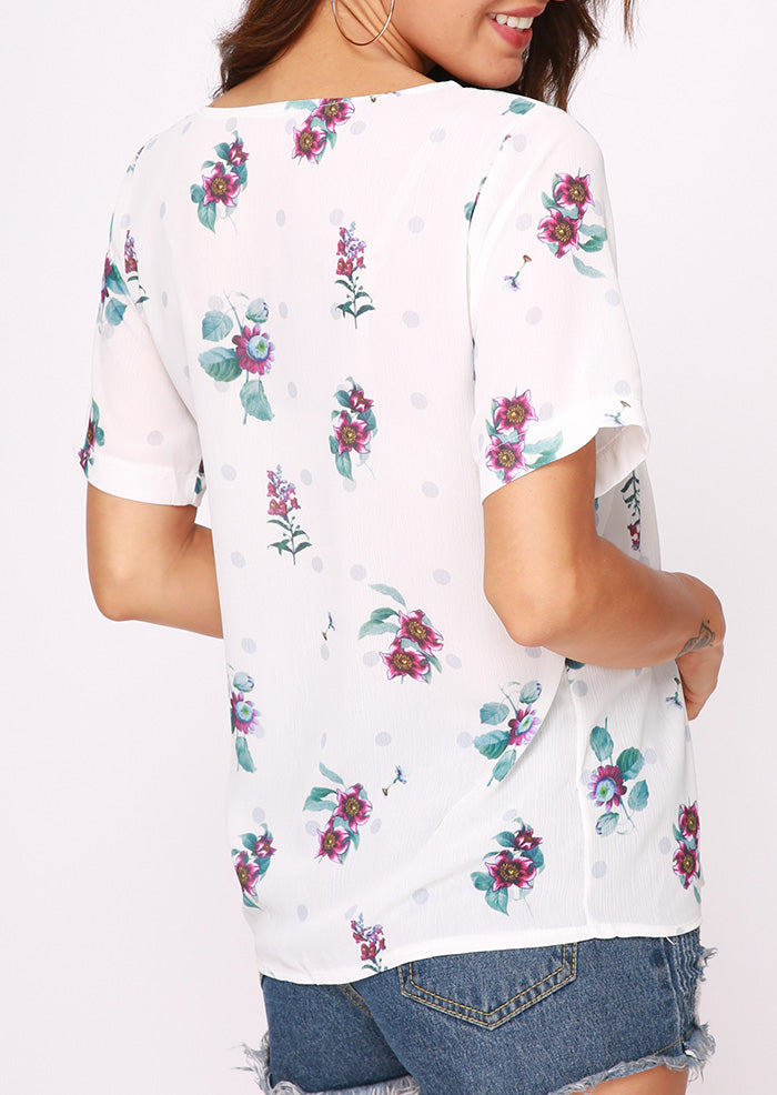 Floral V-Neck Short Sleeve Blouse