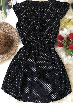Polka Dot Drawstring Mini Dress
