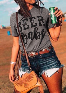Beer Babe Short Sleeve T-Shirt Tee - Gray