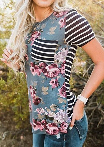 Floral Striped Pocket T-Shirt Tee without Necklace