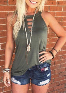 Solid Hollow Out Tank without Necklace - Army Green