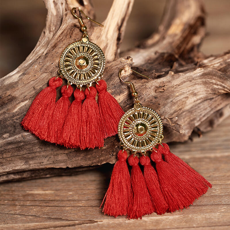 Sunflower Fan-shaped Tassel Earrings