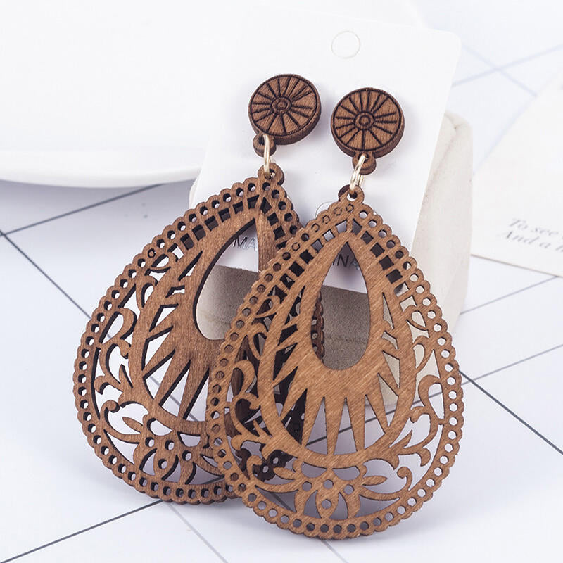 Vintage Hollow Out Water Drop Shaped Wooden Earrings