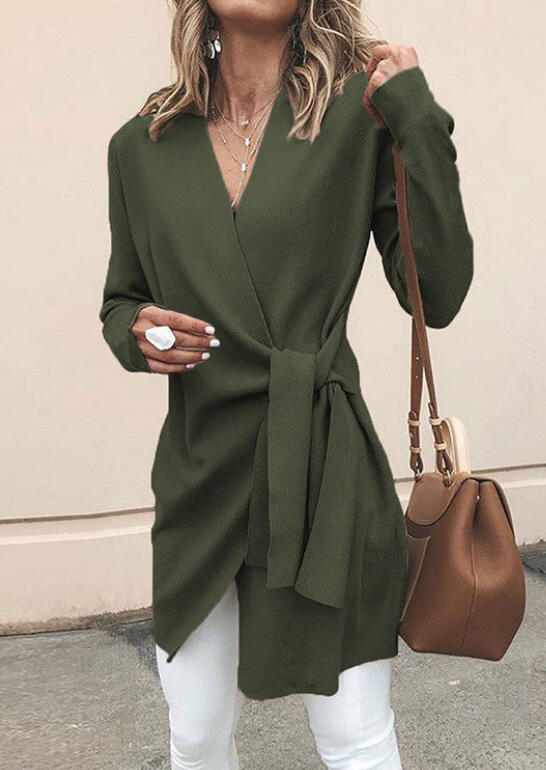 Wrap Tie V-Neck Coat without Necklace