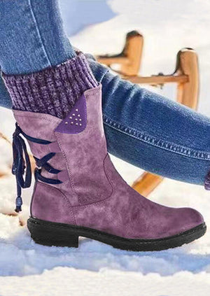 Warm Lace Up Zipper Rivet Splicing Knitting Boots