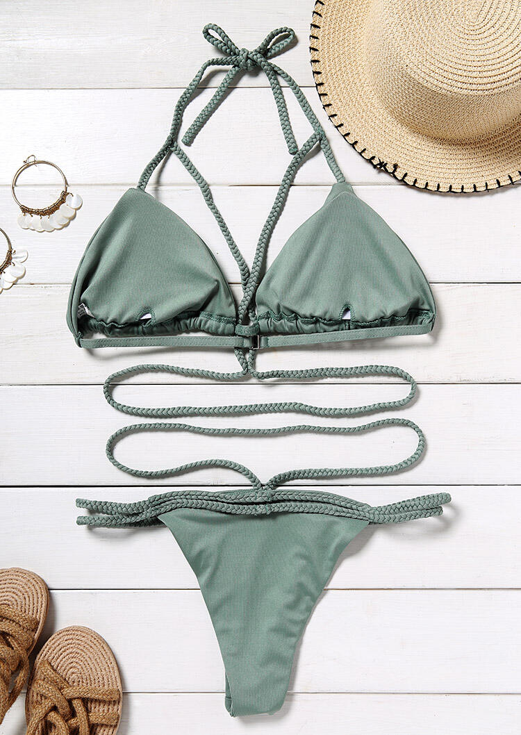 Criss-Cross Tie Halter Sexy Bikini Set without Necklace - Light Green