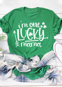 St. Patrick's Day I'm One Lucky Mama T-Shirt Tee - Green