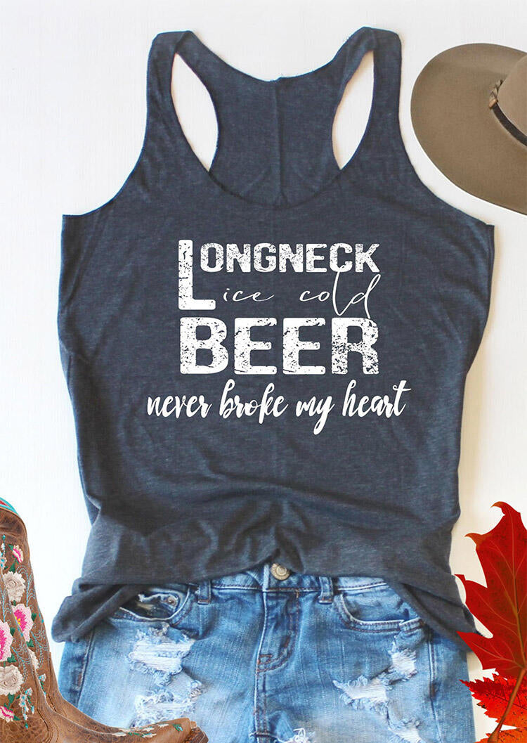 Long Neck Ice Cold Beer Never Broke My Heart Tank - Deep Blue