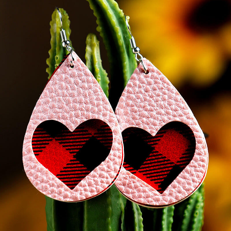 Valentine Plaid Love Heart Dual-Layered PU Leather Earrings