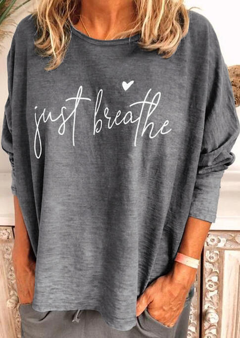 Valentine Just Breathe Heart T-Shirt Tee without Necklace - Gray