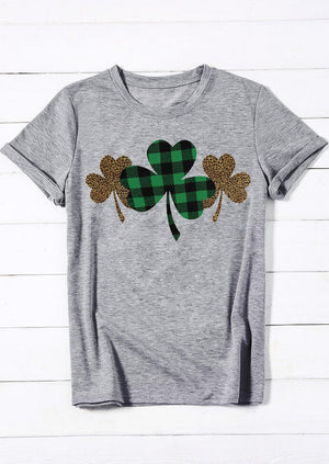 Plaid Leopard Printed Clover T-Shirt Tee - Gray