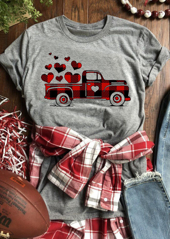 Plaid Printed Splicing Car Heart T-Shirt Tee - Gray