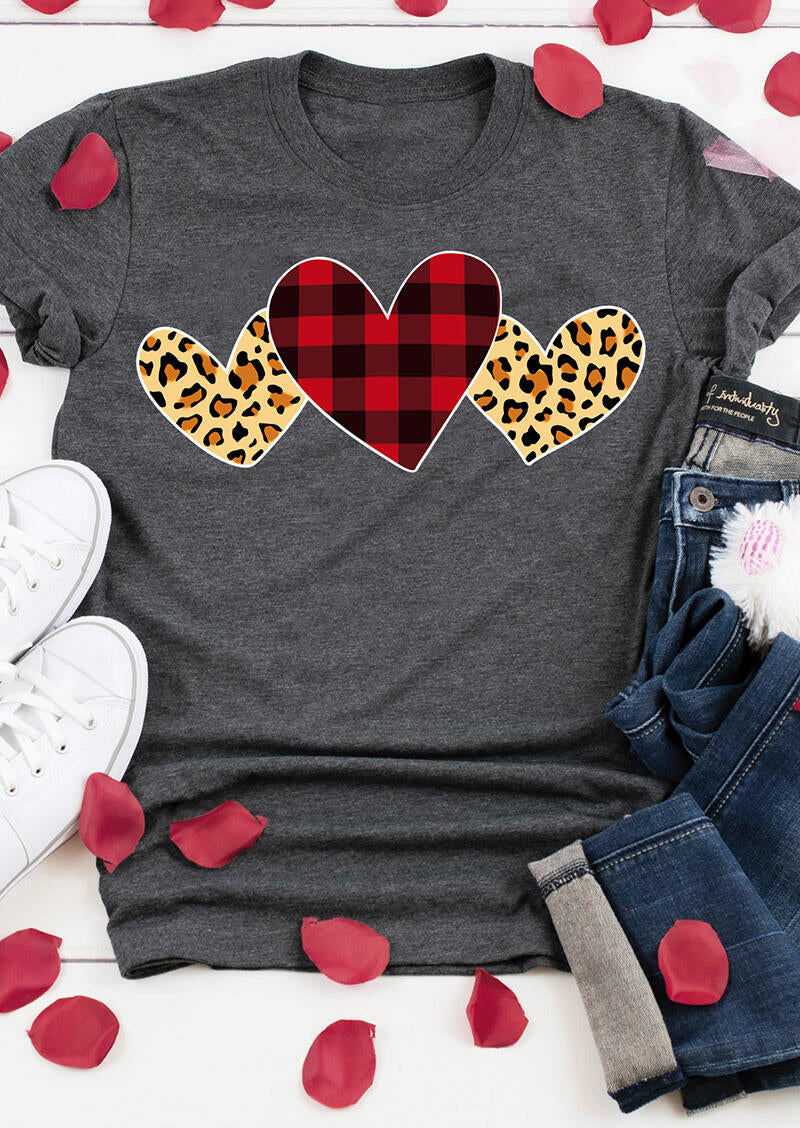 Valentine Plaid Leopard Printed Heart T-Shirt Tee - Dark Grey