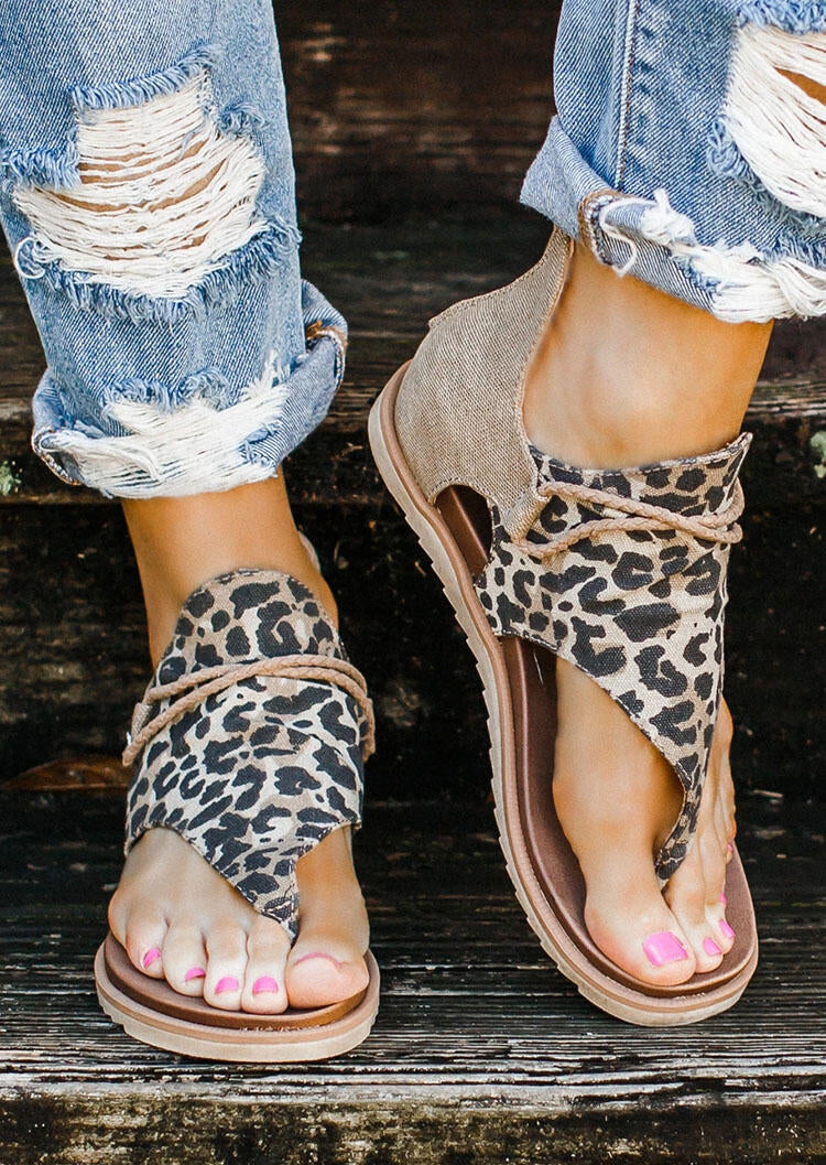 Women's Summer Leopard Printed Zipper Flat Sandals