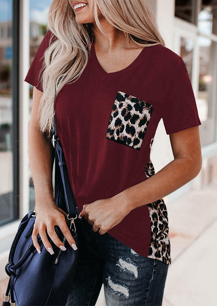 Leopard Printed Splicing T-Shirt Tee without Necklace - Black
