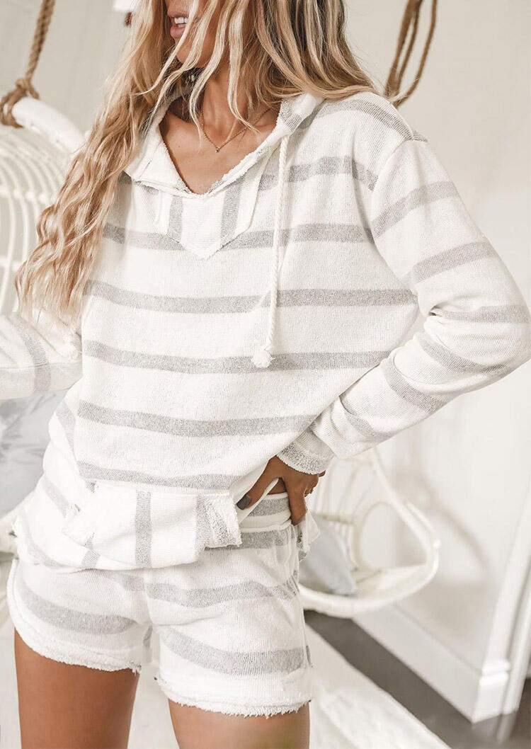 Striped Splicing Hoodie And Shorts Pajamas Set - White