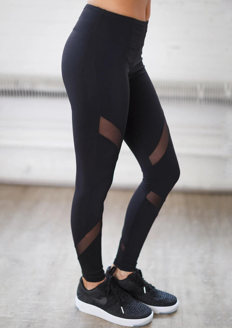 Mesh Splicing Yoga Fitness Activewear Leggings - Black