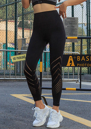 Hollow Out Yoga Fitness Activewear Leggings - Black