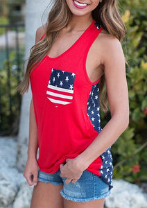 American Flag Star Pocket Tank - Red