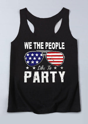 We The People Like To Party American Flag Tank - Black