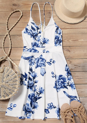 Floral Splicing Lace V-Neck Mini Dress without Necklace - Blue
