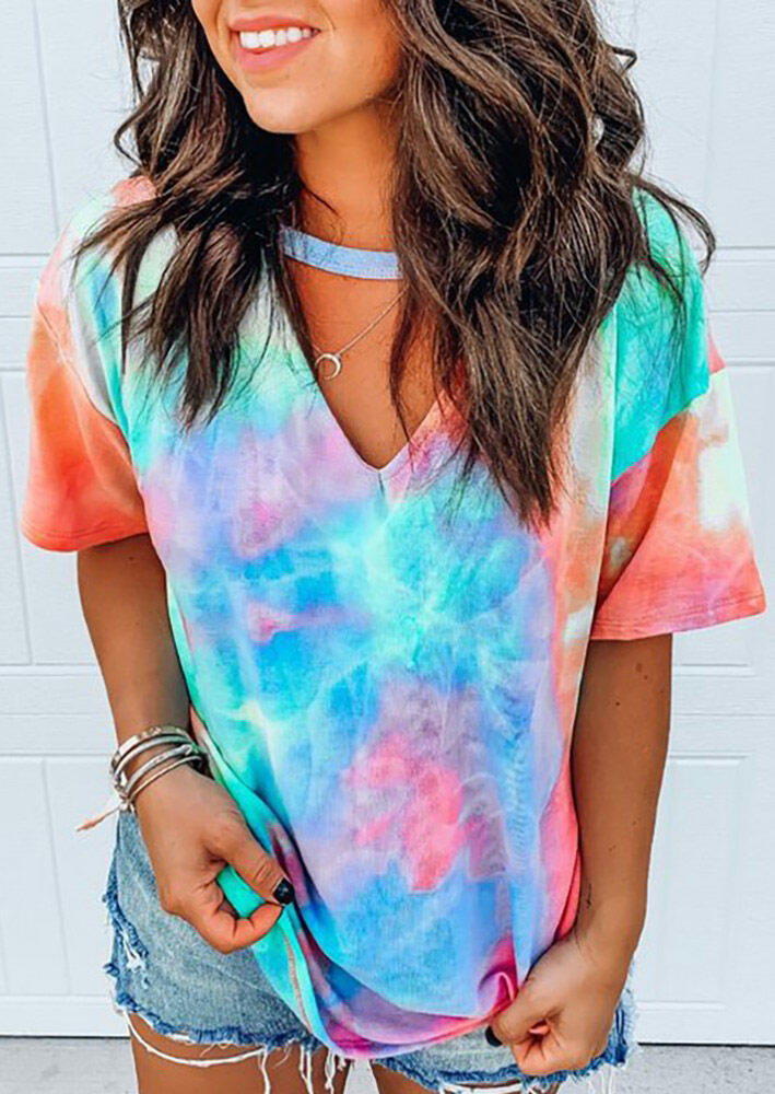 Tie Dye Hollow Out Blouse without Necklace