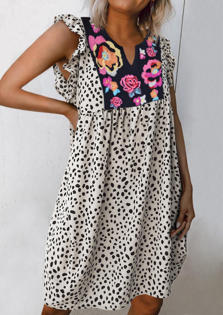 Leopard Splicing Floral Ruffled Casual Dress