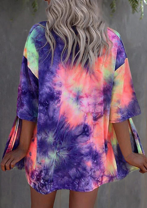 Tie Dye Three Quarter Sleeve Cardigan