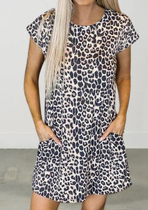 Leopard Pocket Open Back Mini Dress