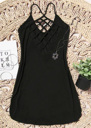Criss-Cross Hollow Out Mini Dress without Necklace - Black