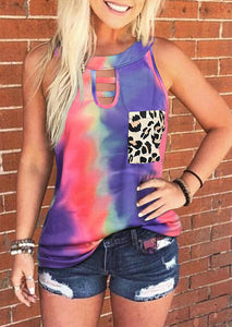 Tie Dye Leopard Pocket Hollow Out Camisole