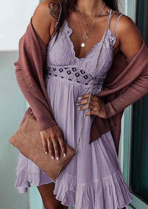 Presale - Lace Splicing Ruffled Spaghetti Strap Mini Dress without Necklace - Purple