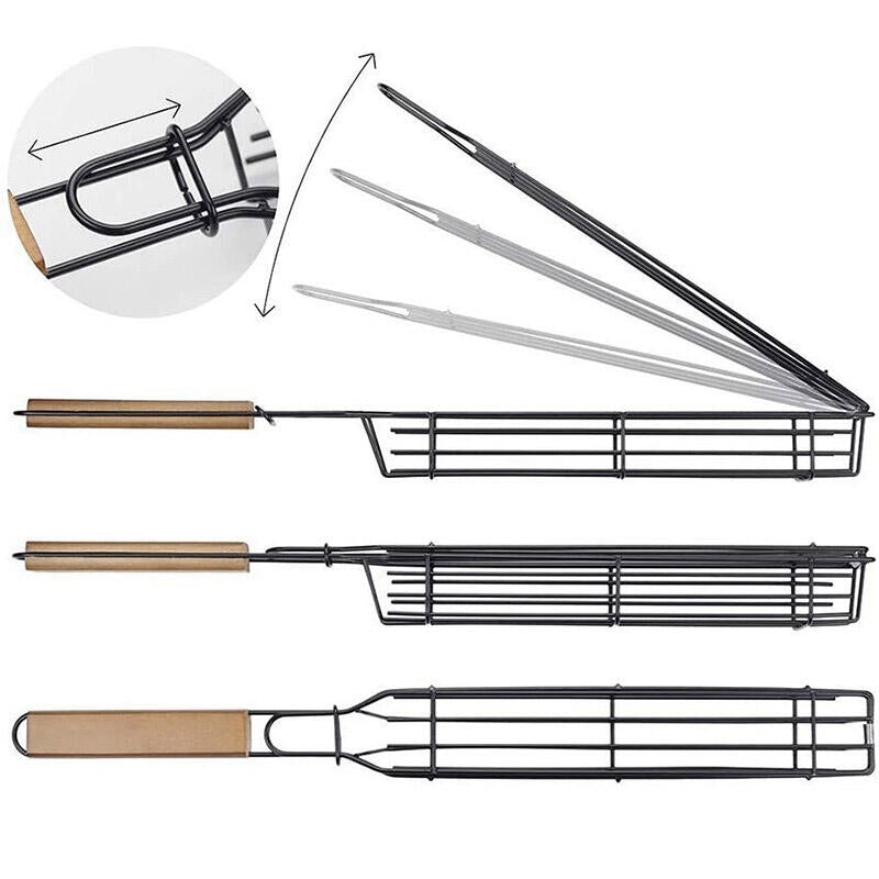 Non-Stick Barbecue Clip Mesh With Wooden Handle