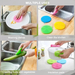 6Pcs Reusable Silicone Sponge Dish Washing Brush