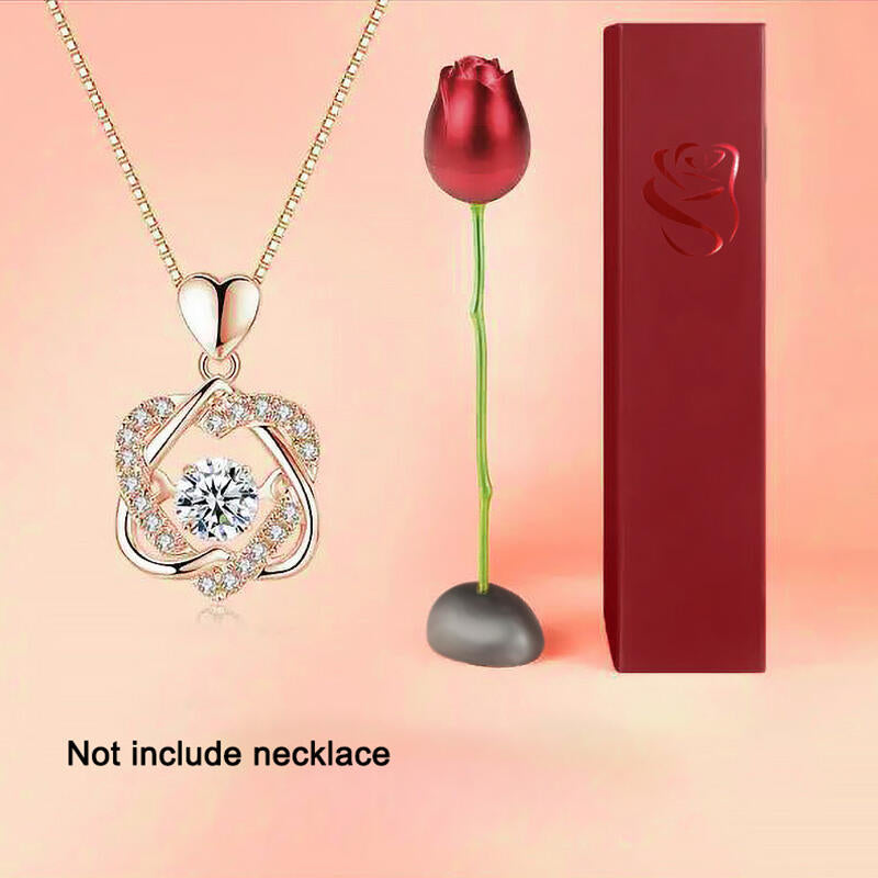 Creative Alloy Rose Flower Jewelry Gift Box