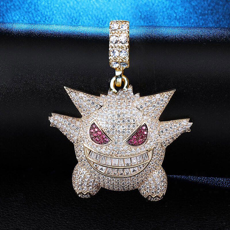 Halloween Gengar Iced Out Pendant Necklace