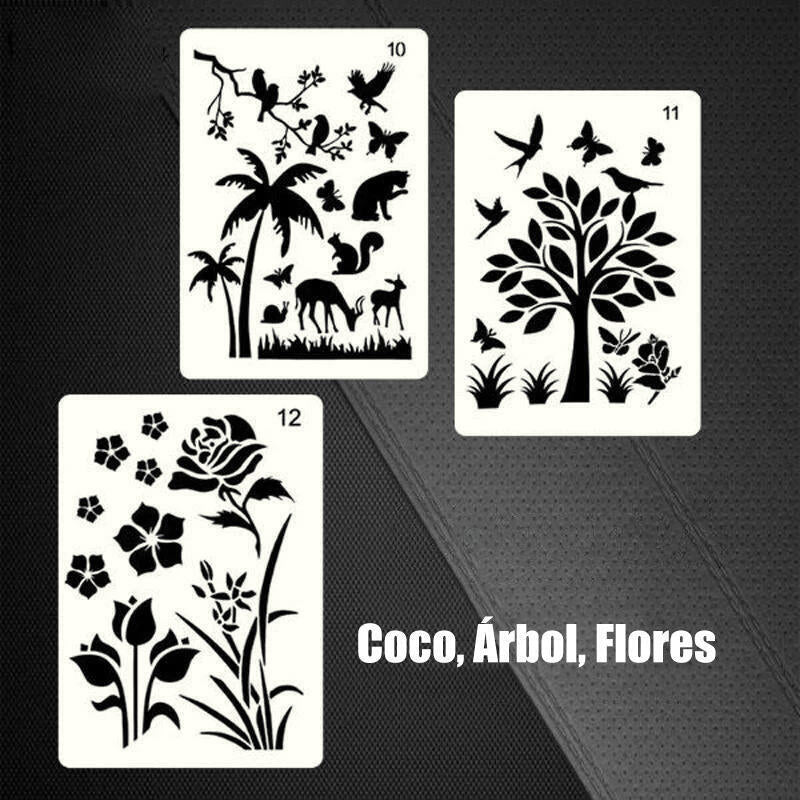 12Pcs  Fast Draw Stencil Art Template