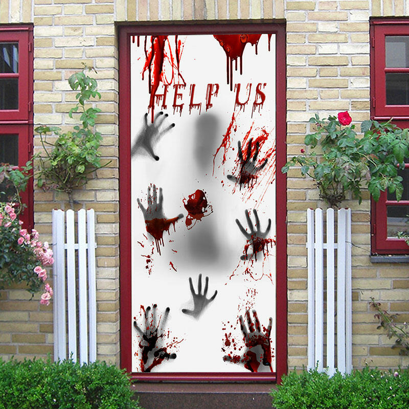 Halloween Haunted Door Cover Decoration