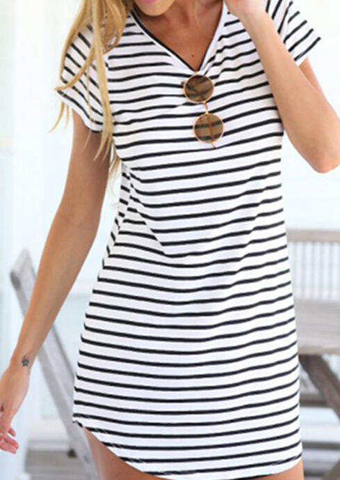 Striped V-Neck Mini Dress without Sunglasses - White