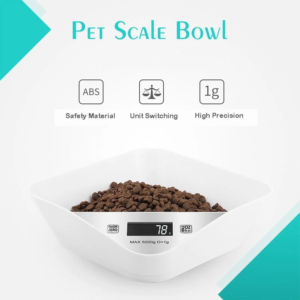 ABS Smart Weighing Pet Bowl without Battery & Digital Pet Food Scoops