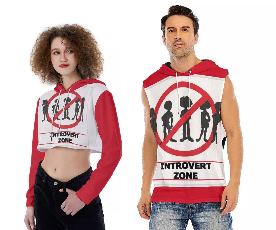 Introvert Zone Women's Cropped Hoodie and Introvert Zone Men's Sleeveless Hoodie