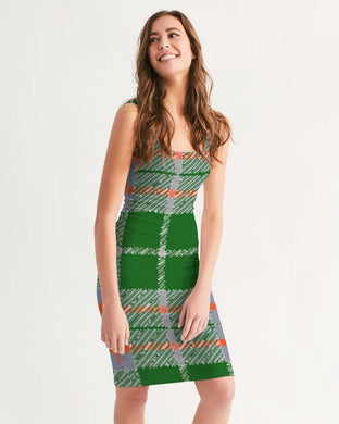 Tribute to Plaid Women's Midi Bodycon Dress, cloth -tie - fly
