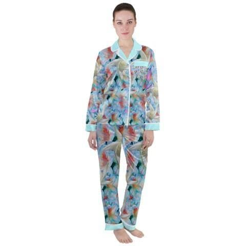 Midnight Floral Satin Long Sleeve Pj's - 2 Styles - Tie-Fly